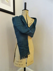 Fairtrade Banana Leaf Yarn Scarves in Teal Long View