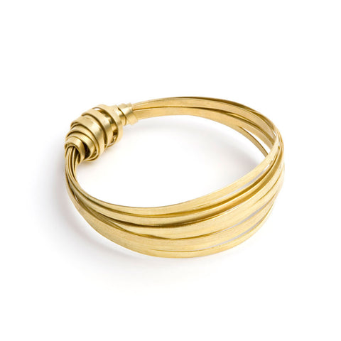 fairtrade brass ribbon bangle