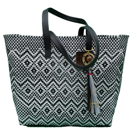 sustainable recycled plastic tote black and white