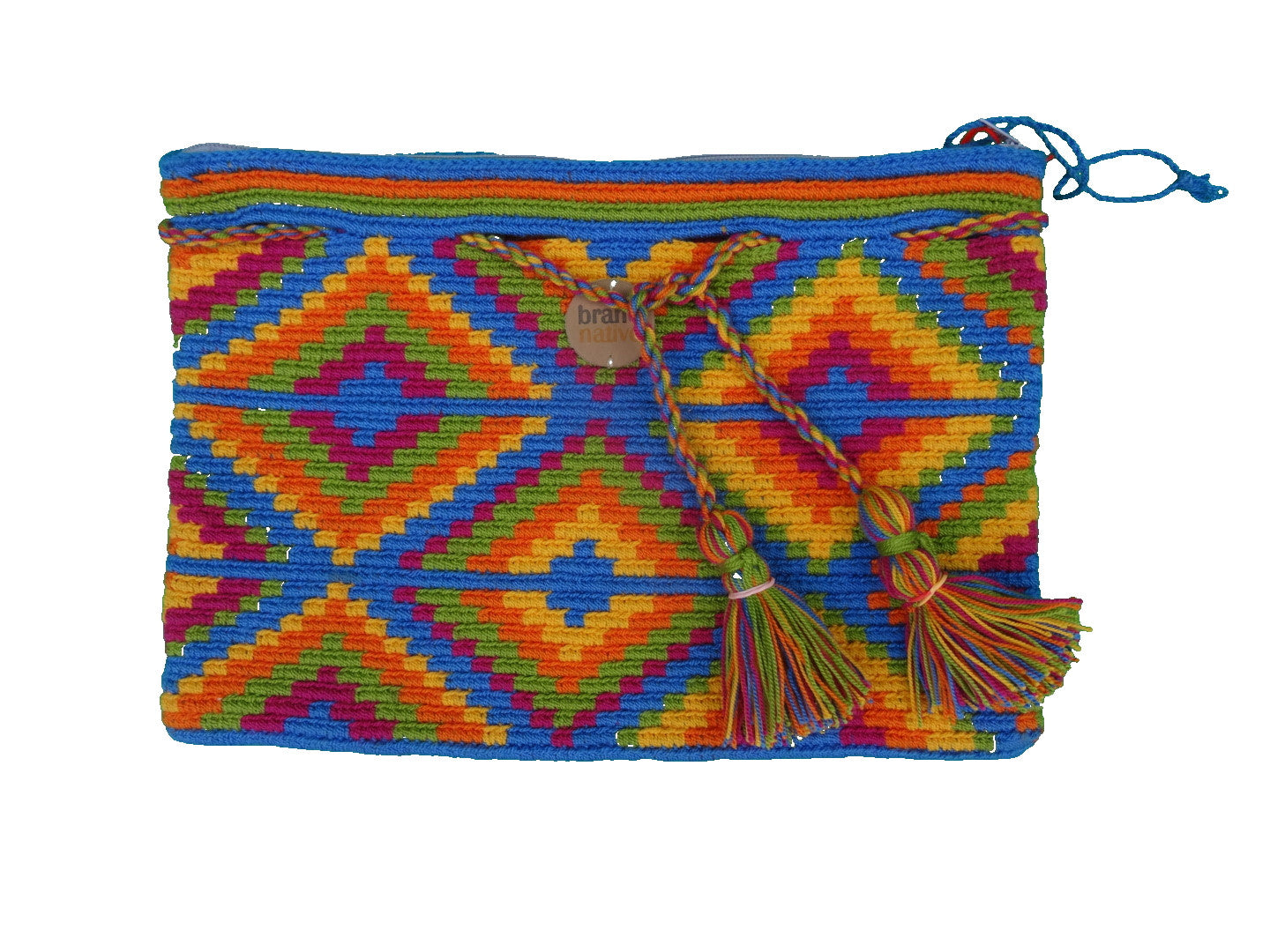 ethical handwoven clutch blue rainbow