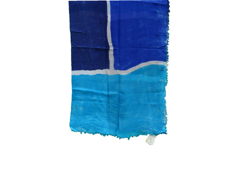 sustainable hand painted modal scarf blue