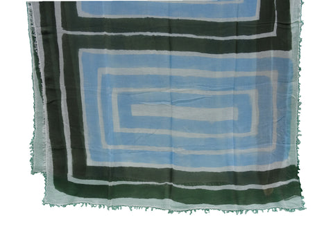 sustainable hand painted modal scarf blue and green