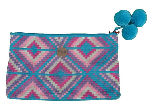 ethical handwoven clutch blue and pink