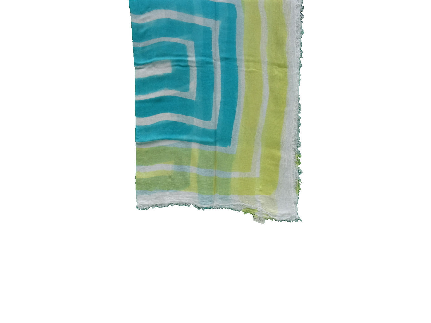 sustainable hand painted modal scarf turquoise and yellow