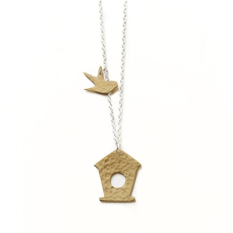 fairtrade country garden bird box necklace
