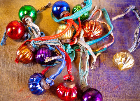 Colourful Recycled Glass Christmas Baubles