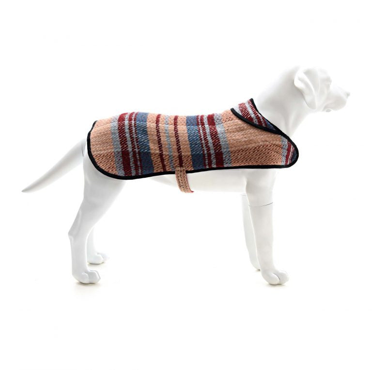 sustainable recycled wool dog coat random pattern
