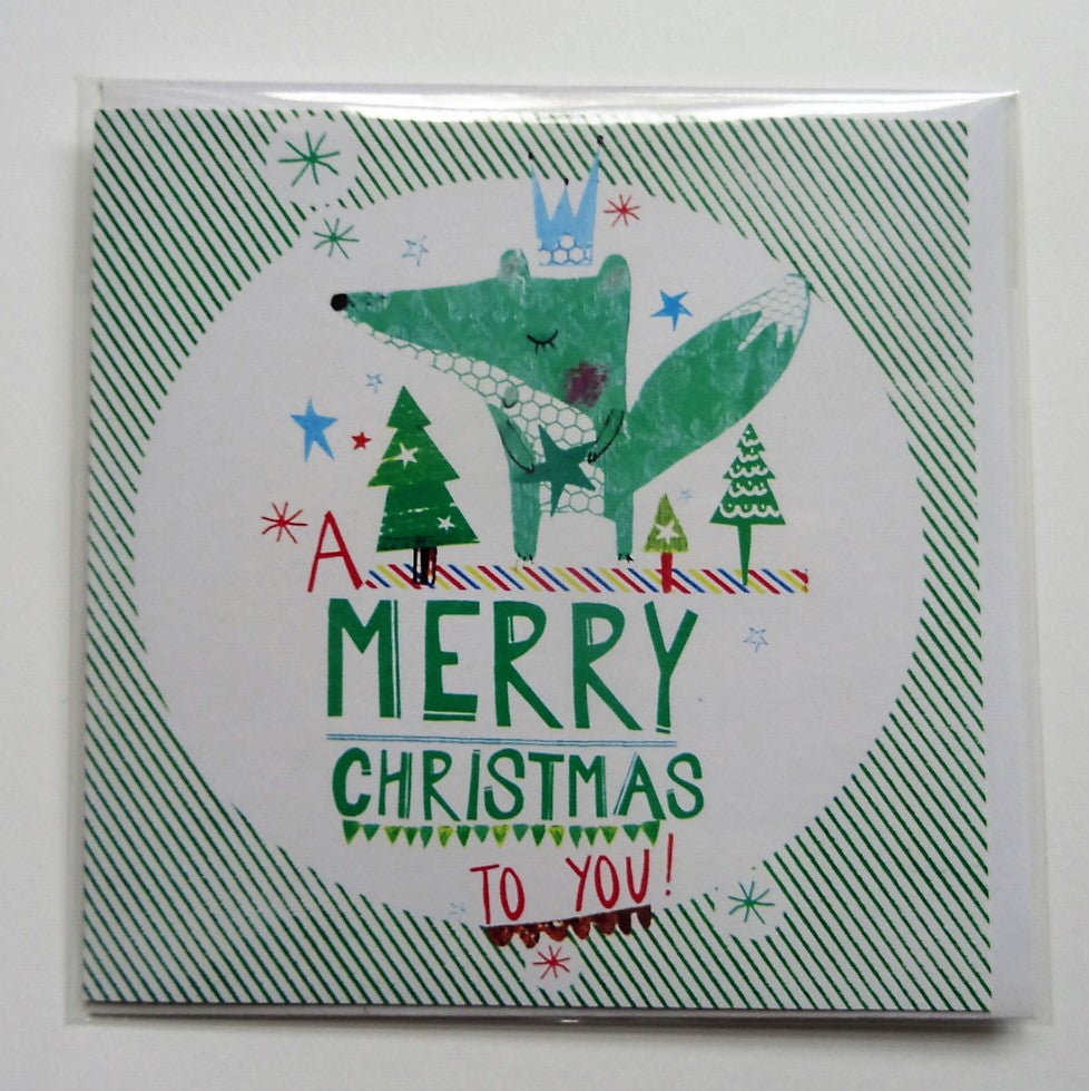 Eco Recycled Christmas Card Fox Design From Alice Palace