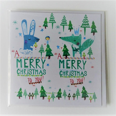 Eco Recycled Christmas Card Fox and Rabbit Design From Alice Palace