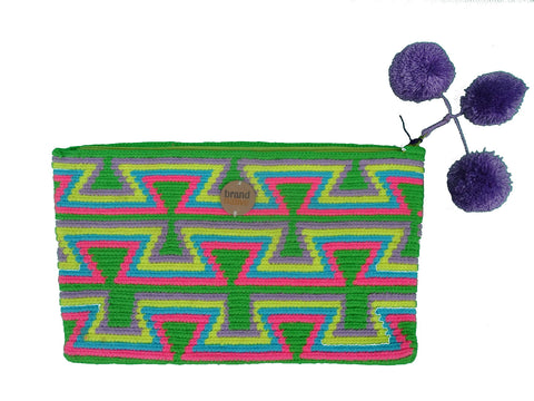 ethical handwoven clutch green and pink
