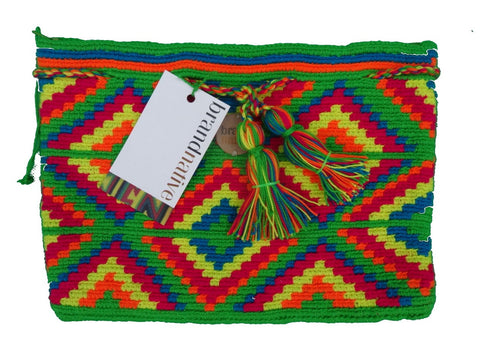 ethical handwoven clutch rainbow with tassels