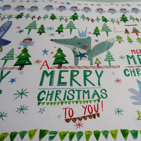 Eco Recycled Christmas Gift Wrap Forest Design By Alice Palace Close Up