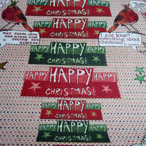 Eco Recycled Christmas Gift Wrap Hello Christmas Design By Alice Palace Close Up 1