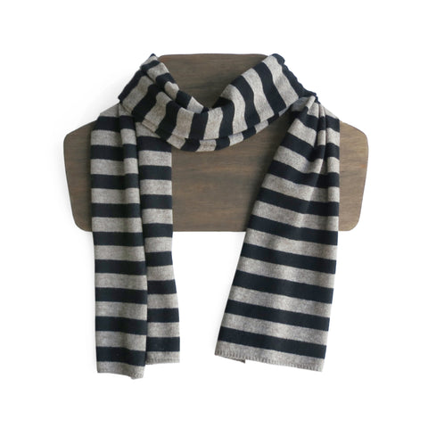 Fairtrade Yak and Merino Scarf in Beige and Black Stripe