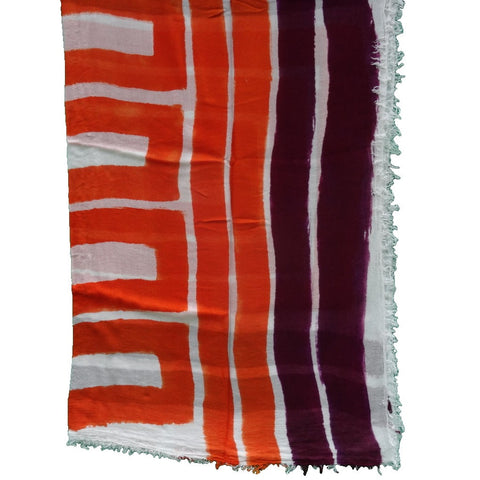 sustainable hand painted modal scarf purple and orange