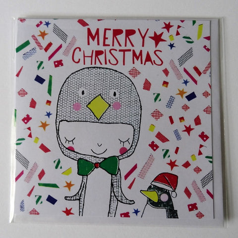 Eco Recycled Christmas Card Penguin Design From Alice Palace