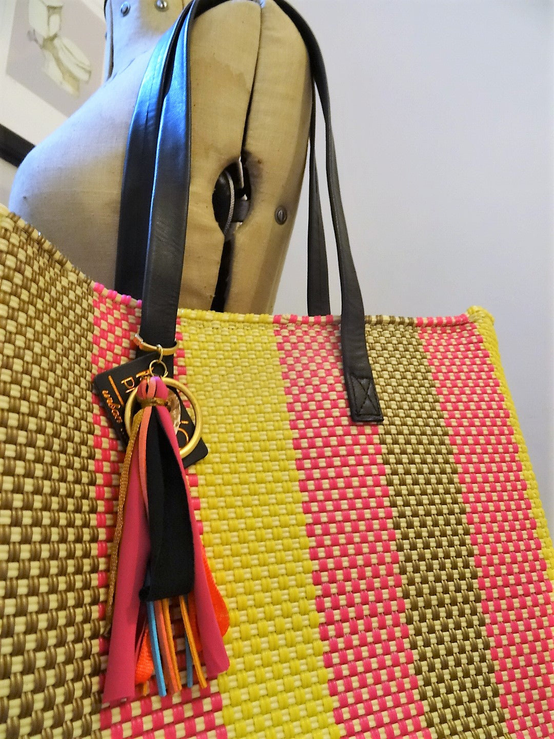 Recycled Plastic Tote Bag Pink and Yellow