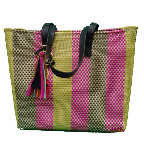 sustainable recycled plastic tote pink and yellow