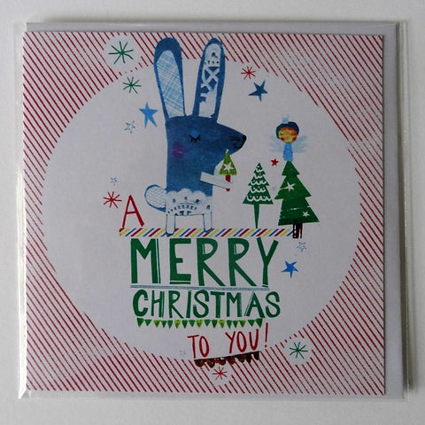 Eco Recycled Christmas Card Rabbit Design From Alice Palace