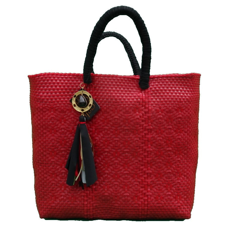 sustainable recycled plastic tote red