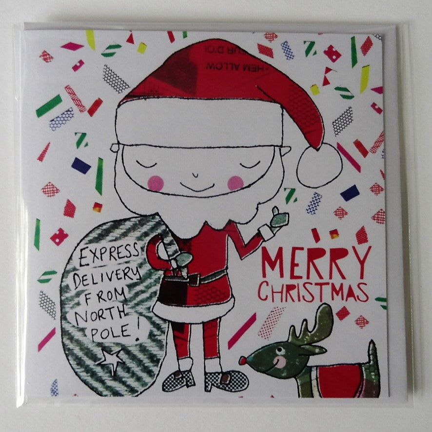 Eco Recycled Christmas Card Santa Design From Alice Palace