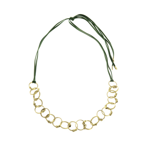 Fair Trade Brass Ribbon Hoop Necklace