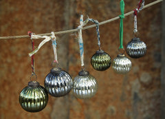 Fair trade recycled glass eco Christmas baubles from Nkuku image of 6