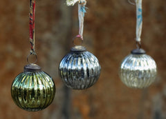 Fair trade recycled glass eco Christmas baubles from Nkuku image of 3