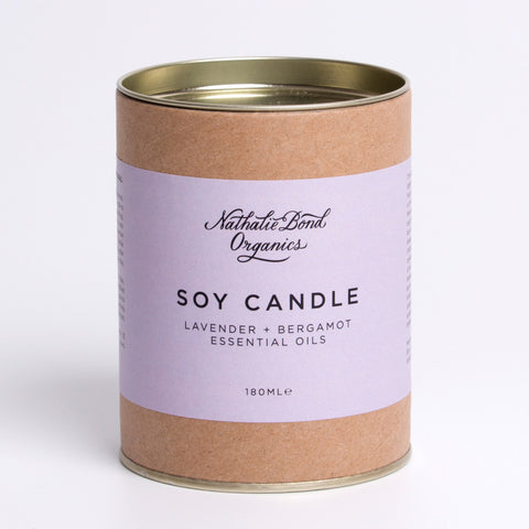 natural soy candle lavender and bergamot
