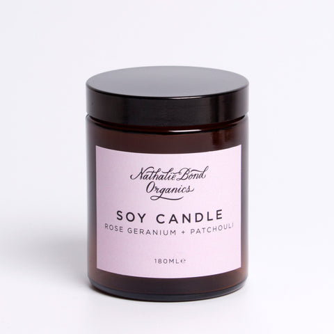 natural soy candle rose geranium and patchouli