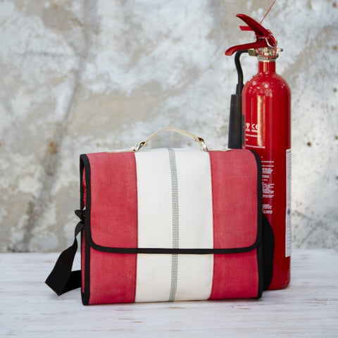 Fairtrade upcycled fire hose messenger bag
