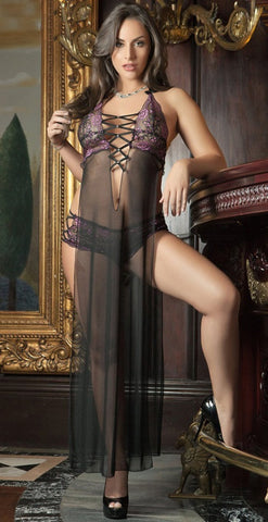 Seductively Exposed Gown Set