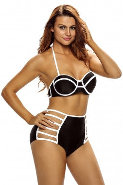 Black Accent Highwaist Swimwear