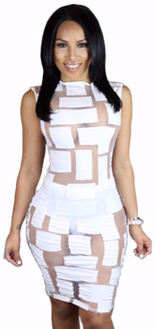 Sheer Patchwork Bodycon Dress