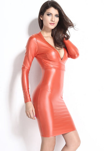 Plunging Leather Dress