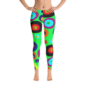 Colorful Eyes in the Green Sky Leggings