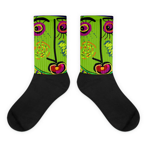 He Kept Us In Stitches socks by Susan Fielder Art