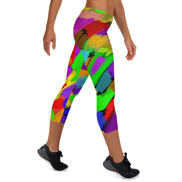 Pouring Rainbows Capri Leggings by Susan Fielder Art