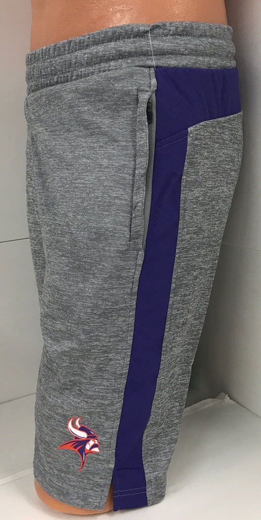 Missouri Valley Men's Shorts--Colosseum Gray with Side Viking Head Logo