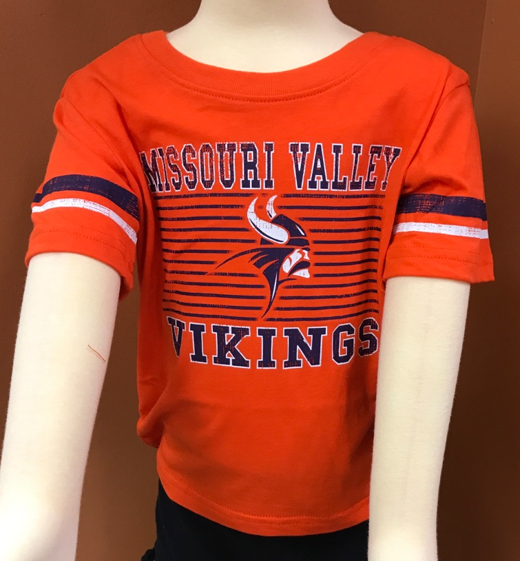 Missouri Valley Toddler Tee--Colosseum Orange with Valley Logo