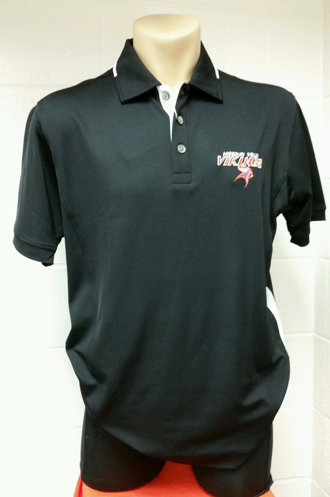 Missouri Valley Men's Polo--Pro Celebrity Black with Valley Logo