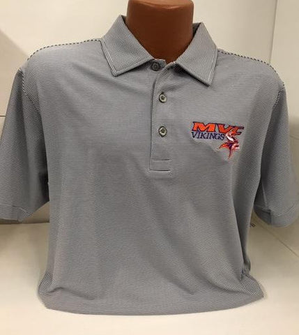 Missouri Valley Men's Polo--Pro Celebrity gray and white stripe with Valley Logo