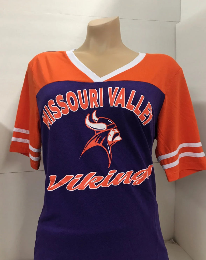 Missouri Valley Ladies Colosseum V-Neck Purple/Orange Tee