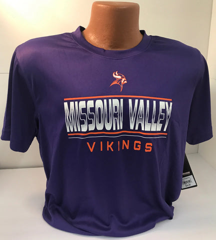 Missouri Valley Youth Tee--Colosseum Purple Dri-Fit Tee with Missouri Valley Logo