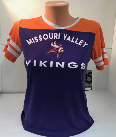Missouri Valley Girls Tee--Colosseum Soft Tee Purple/Orange with Rhinestone Valley Logo