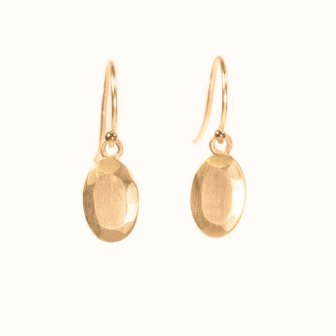 SALE - oval cut gold jewel drop earrings