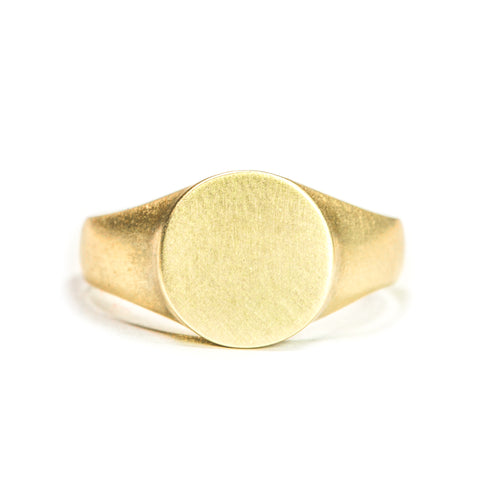 <!--RG450-->round personalized signet ring 14k