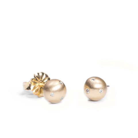 <!--ER581dia--> medium bubble stud earrings with diamonds