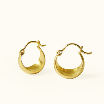 small half moon hoop earrings 14k