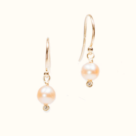 SALE - pearl + diamond droplet earrings